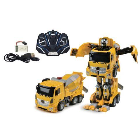 1toy T11022 Робот на р/у, трансформируется в Бетономешалку, со светом и звуком, 38см, коробка