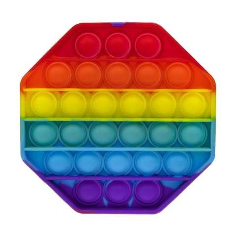 1toy T21585 Игрушка-антистресс POP IT, восьмиугольник радужный